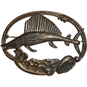 SALE Art Deco Stamped Sterling Silver Figural Marlin Swordfish Pin Brooch