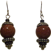 SALE Glorious Vintage Pair of Goldstone and Sterling Silver Dangle Earrings