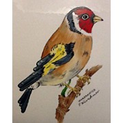 Goebel Bird Wall Plaque Goldfinch Hand Painted F Kirchner 1975