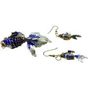 SALE Vintage Koi Fish Pendant Articulated Enamel Cloisonne with Matching Earrings. Stunning ..
