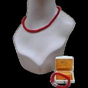 Vintage Milan Precious Coral Demi Parure  Necklace & Bracelet Set