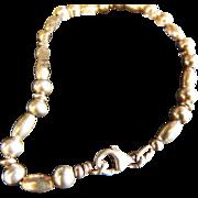 Vintage Sterling Silver Bracelet With Oval & Round Barrel Bead Links