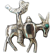 SALE 1940's or Earlier Sterling Silver Mexico Man riding a Burro or Donkey. Stunning ...