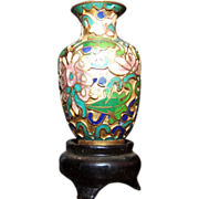 SALE Miniature Incredibly Detailed Meiji Japanese Cloisonne Vase Urn on Stand.