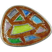 Modernist enameled 935 Silver Modernist brooch