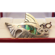SALE Melicio Rodriguez TAXCO ABALONE Whale Pendant 925 Sterling
