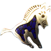 Mexican Vintage Sterling Silver Leaping Donkey Brooch/Pin with Lapis Inlay Work. Stunning!