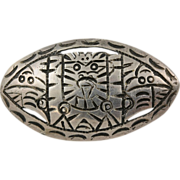 Antique Aztec Signed 900 Silver Brooch. Incredible piece with a C Clasp