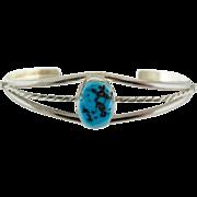 """Vintage Sterling Silver Southwestern """"RLG"""" Turquoise Cuff Bracelet,"""