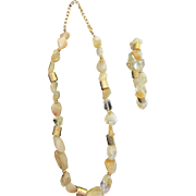 SALE Custom Made 1980's Golden Rutilated Quartz Necklace with Matching Bracelet. Outstanding .