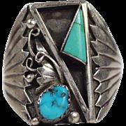 Vintage Estate Navajo V. Chee. Sterling Silver Turquoise Ring. Superb. Size 11