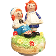 SALE Raggedy Ann & Andy Collectible Music box by Schmid 1974