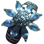 """SALE Gorgeous Sterling Silver Aquamarine Flower Ring Signed """"ART"""" Size 8"""