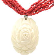 SALE Vintage red coral bead multi-strand necklace with carved rose pendant.