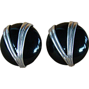 Vintage Estate Modernist Sterling silver and onyx  earrings by ELAINE ROSE.
