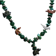 REDUCED Stunning Zuni Sterling Fetish Necklace with a Gorgeous Array of Semi-Precious Stones .
