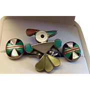 Estate Famous Navajo Silversmith Harrison Kee Thunderbird Inlay Ring With Matching Earrings. .