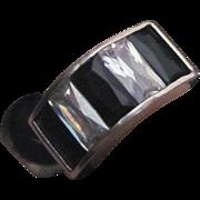 SALE Fine Estate Sterling Silver Modernist Large Black & White Glass Ring Size 7.75 8 ...