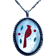 """Vintage Zuni Cardinal Mother of Pearl Pendant Necklace. Signed """"RM"""""""