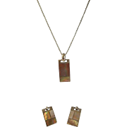 Stunning Thailand Sterling Silver Mother of Pearl and Abalone Necklace and Earrings Set. ...