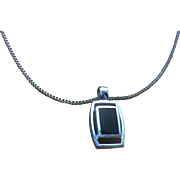 Vintage ( 1960 to 1966) Modernist Designer Siam (Thailand) Sterling Silver Onyx Pendant &