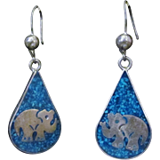 Vintage Early Taxco TF-23 Sterling Silver Earrings with Crushed Turquoise Inlay and Elephant .