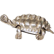 Vintage Mexican Silver Articulated Turtle Brooch Signed