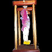 Vintage Folk Art Wooden Circus Clown Acrobat Tumbler Toy