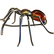 Victorian Sterling Silver Spider Pin Brooch with an Amber Globe Body.