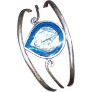 Vintage Silver Tone Alpaca Bracelet Enamel Abalone Inlay