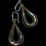 SALE Abalone Alpaca Silver Tear-drop Hook Earrings Mexico late 1930