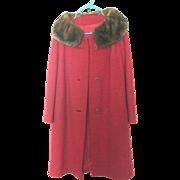 SALE Shagmoor Wool Tweed Coat with Mink Fur Collar circa. 1950 Red