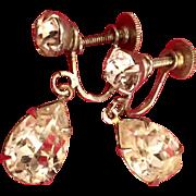 SALE Albert Weiss rhinestone earrings 1940 40's forties