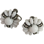 SALE Milk-Glass Screw-Back Earrings From The Fifties With Rhinestones 50's
