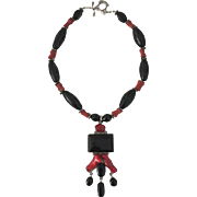 Heavy Sterling Silver Coral and Onyx Unique Necklace