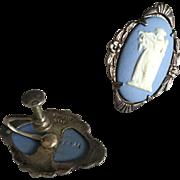 SALE Antique Wedgwood Jasperware Blue Sterling Silver Earrings mid 1800