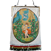 "Figural / Scenic Beaded Purse ""CHERUB"" scene, original frame and fringe"
