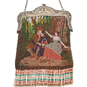 SALE Scenic / Figural Beaded Purse, courting couple