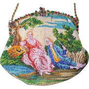 "Figural / Scenic Beaded Purse, ""courting couple"", jeweled frame,"