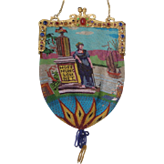 Figural / Scenic Beaded Purse, jeweled frame, very old, fantatstic detail, with writing  ...