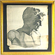 SALE Vintage Neoclassical Style Male Bust Drawing