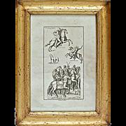 SALE Antique Roman Cavaliers Engraving
