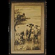 SALE Antique Boy & Cow Engraving