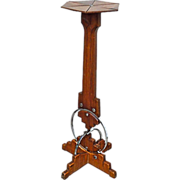 SALE Vintage Art Deco Wood & Chrome Pedestal