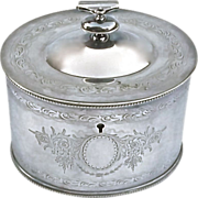 SALE English Silverplated Lidded Biscuit Jar