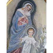 SOLD Small original painting of Mary & Jesus in gilt frame