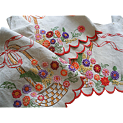 SOLD Vintage French linen embroidered pelmet with raised flowers in baskets c1920s