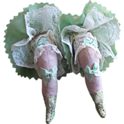 SOLD Pair antique novelty pin cushions c1910, legs with lace frills