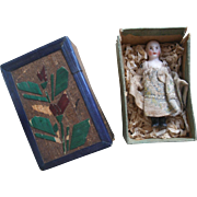 SOLD Teeny tiny antique jointed doll in original dress