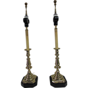 Brass Candlestick Lamps, English, 19th Century